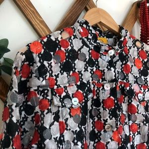 Geometric Pattern Blouse Stand Collar Ruby Rd.